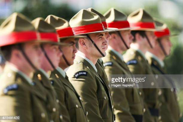 Soldiers stand guard during the Anzac Day National Commemoration Service at Pukeahu National War Memorial Park on April 25 2017 in Wellington New...