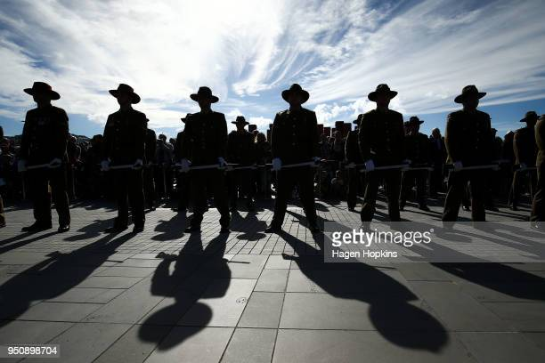 Soldiers stand guard during the Anzac Day National Commemoration Service at Pukeahu National War Memorial Park on April 25 2018 in Wellington New...