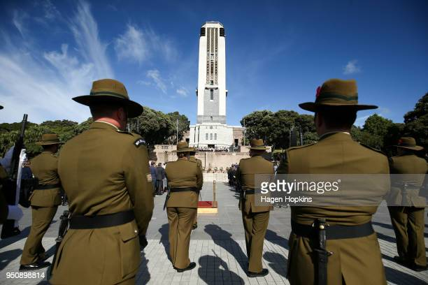 Soldiers stand guard during the Anzac Day National Commemoration Service at Pukeahu National War Memorial Park on April 25, 2018 in Wellington, New...