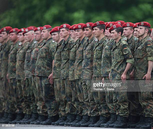 Soldiers stand in a row during the roll call of the 17th German ISAF contingent at the Regenstorplatz on June 3 2008 in Lemgo Germany The military...