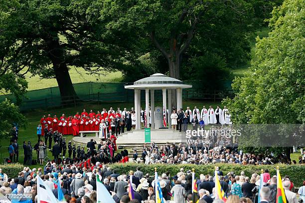 Soldiers stand next to a Magna Carta memorial during an event to mark the 800th anniversary of Magna Carta on June 15, 2015 in Runnymede, United...