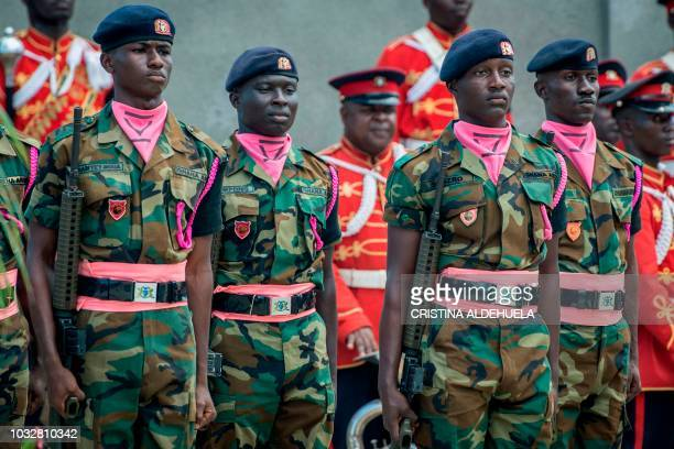 Soldiers stand to attention during the funeral ceremony of Kofi Annan the Ghanaian diplomat and former SecretaryGeneral of United Nations at The...