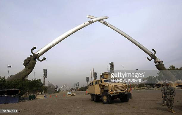 US soldiers stand under Baghdad's alQadissiyah swords on April 2 2009 The US army was due on April 2 to mark the handover to Iraqi control of the...