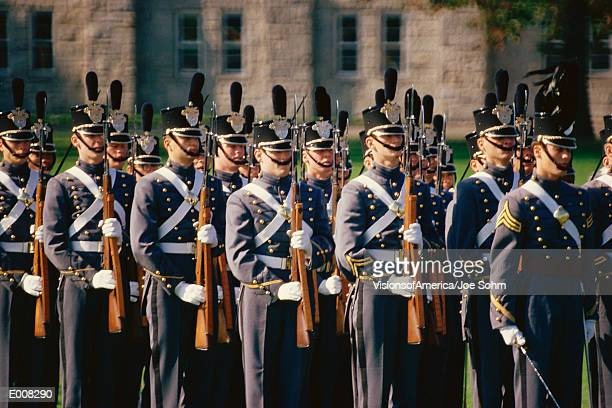 Soldiers standing at attention, Westpoint Military Academy
