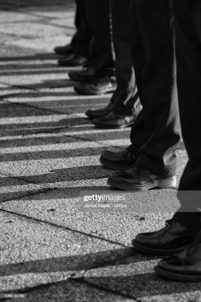 Soldiers standing in row on parade : Stock Photo