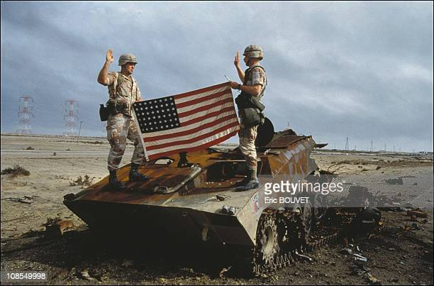 US soldiers take oath to the US army on an Iraqi destroyed tank in Iraq on February 27th 1991