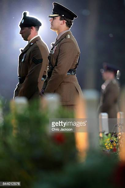 Soldiers take part in a vigil at Thiepval Memorial to the Missing of the Somme during Somme Centenary Commemorations on June 30, 2016 in Thiepval,...
