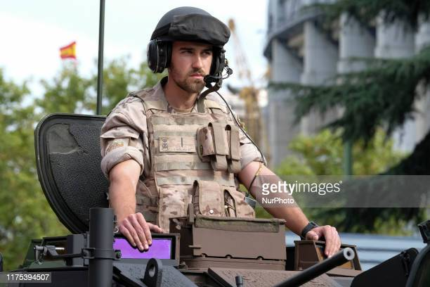 Soldiers take part in Spain's National Day military parade at Castellana Street on October 12 2019 in Madrid Spain Every October 12 Madrid celebrates...