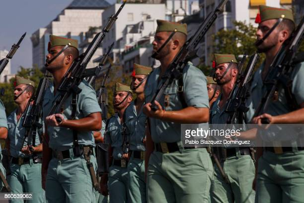Soldiers take part in Spain's National Day military parade at Castellana Street on October 12 2017 in Madrid Spain Every October 12 Madrid celebrates...