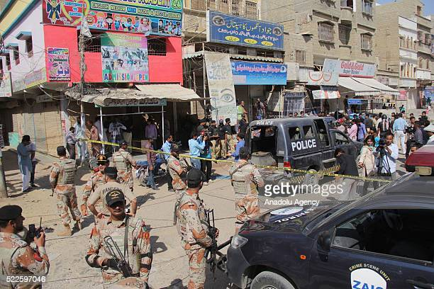 Soldiers take security measures after 7 police officers killed by some assaulters during vaccination events for poliomyelitis in Karachi, Pakistan on...
