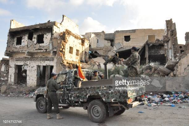 Soldiers take security measures at the Al Jamaliya neighborhood of Taiz governorate in southwestern Yemen on December 23 2018 Yemenis in Taiz have...