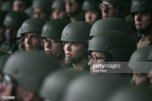 Soldiers take shelter from the rain at the rifle range during Army basic training at Fort Jackson March 1 2007 in Columbia South Carolina In 2006 the...