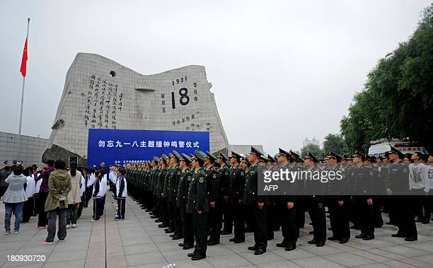 Soldiers the armed police and citizens gather on the square before the September 18th History Museum to commemorate the 82nd anniversary of the...