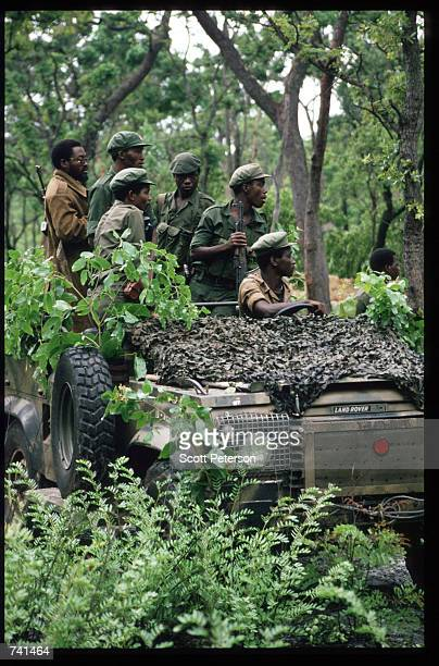 UNITA soldiers travel along the front in jeeps January 23 1990 near Jamba Angola The National Union for the Total Independence of Angola and the...