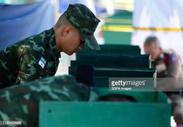 Soldiers vote during Thailand's general election in Bangkok