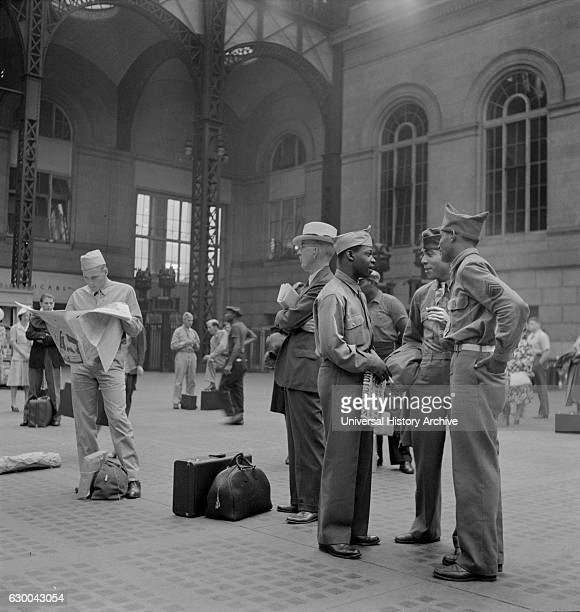 Soldiers Waiting for Train Pennsylvania Station New York City New York USA Marjorie Collins for Office of War Information August 1942