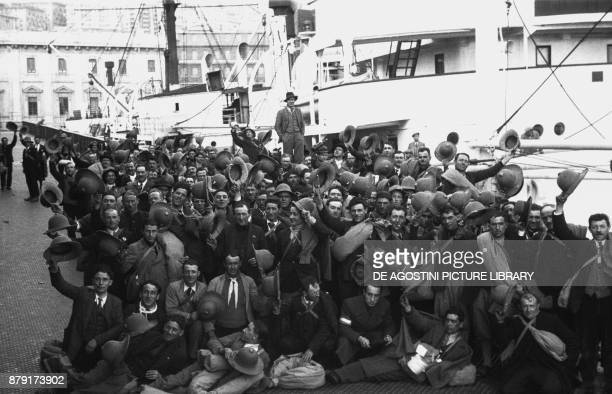 Soldiers waiting to embarking on the Gabbiano ship February 28 Genoa port Italy 20th century
