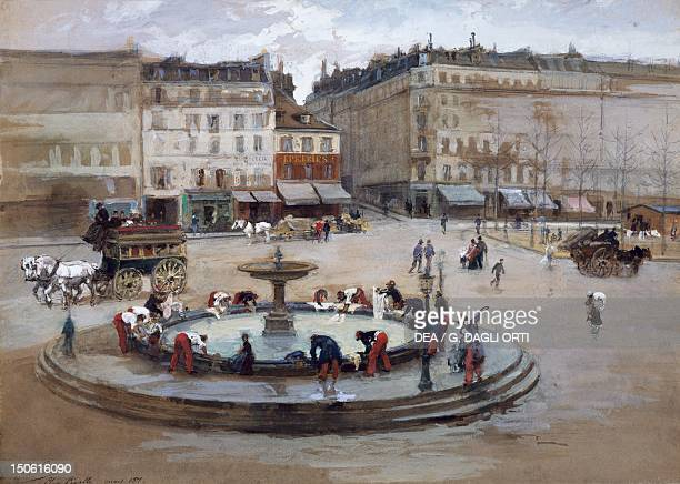 Soldiers washing their clothes in Place Pigalle during the siege of Paris March 1871 watercolour Franco Prussian War France 19th century