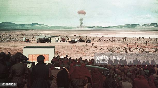 Soldiers watching the effects of the deadly Atomic Bomb | Location Yucca Flat Nevada