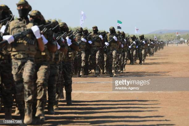Soldiers, who successfully completed their training, join the Suleiman Shah Brigades of Syrian National Army in Syria's Afrin on July 7, 2021.