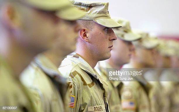 S soldiers who were part of a Task Force deployed from South Korea to Iraq on October 2004 participate in a welcome home ceremony at US Army Camp...