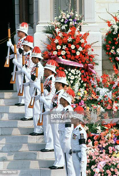 Soldiers with black armbands for mourning at the funeral of Princess Grace of Monaco