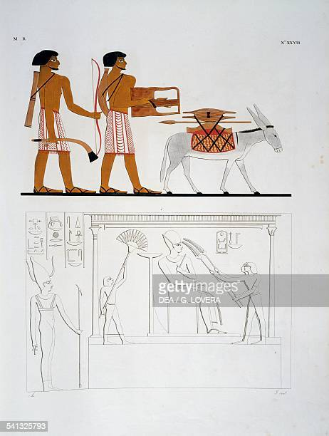 Soldiers with bow arrows spears and axes the pharaoh Amenhotep I as a god from hemispeos temple at Abu Simbel Plate XXVIII from The monuments of...