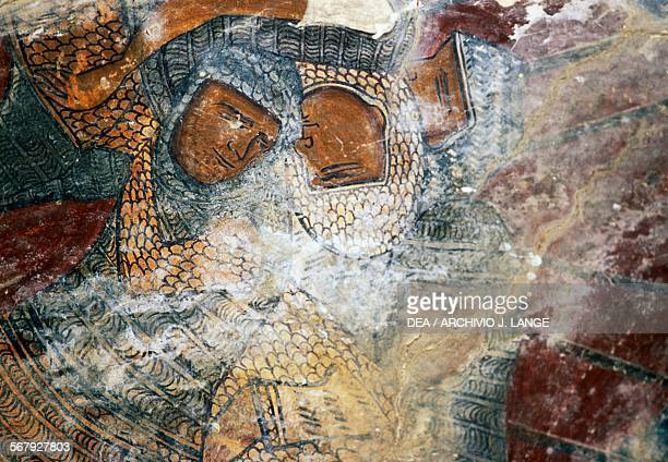 Soldiers with coat of mail fresco in the church of Sotiros Christou Temenia Crete Greece