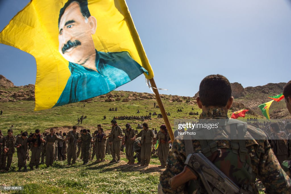 Kurdish militias in Sinjar, Iraq, celebrating the birthday of Abdullah Ocalan : News Photo
