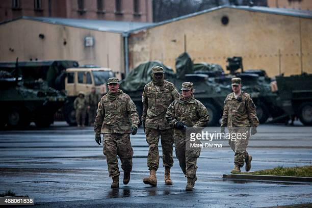 S soldiers with the 3rd Squadron 2nd Cavalry Regiment walk through Czech army barracks on March 29 2015 in Liberec Czech Republic US soldiers are...