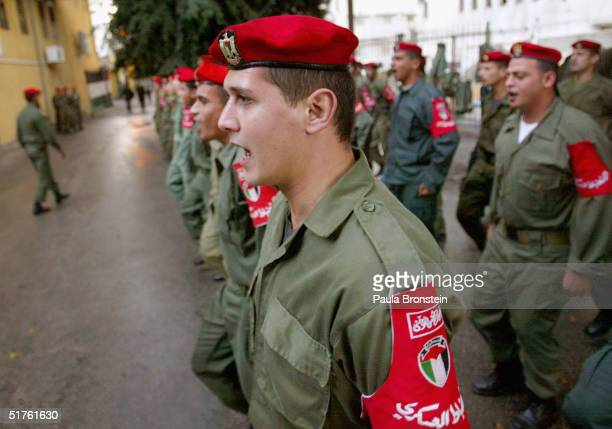 Soldiers with the Palestinian National Security Force controlled by Fatah leader Mousa Arafat march during training on November 18, 2004 in Gaza...