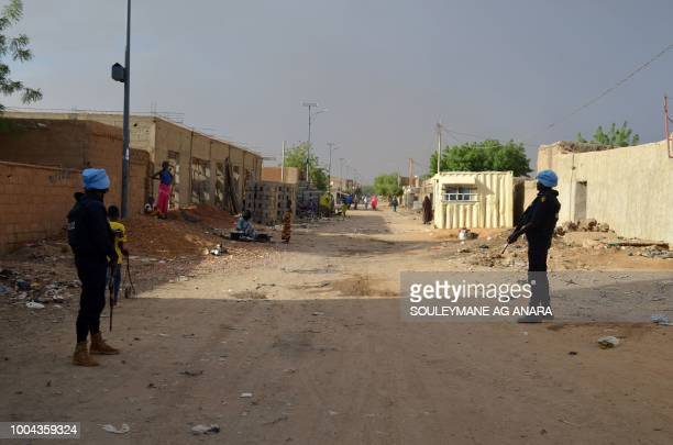 UN soldiers with the Senegalese contingent of the United Nations Multidimensional Integrated Stabilization Mission in Mali patrol the streets of Gao...