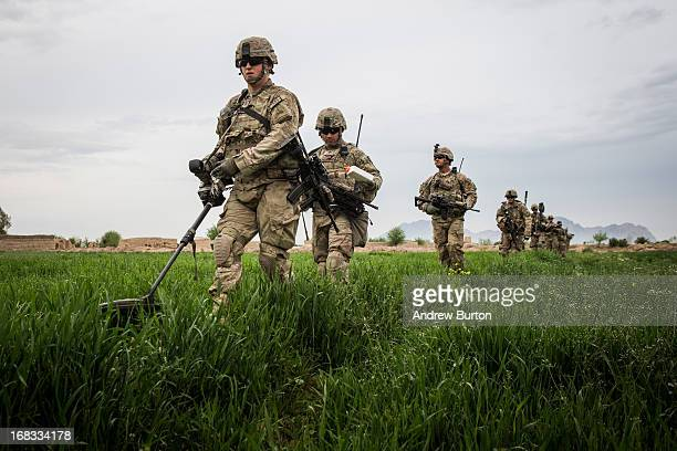 Soldiers with the United States Army's 3rd Battalion 41st Infantry Regiment are seen on a joint patrol with the Afghan National Army prepare for a...