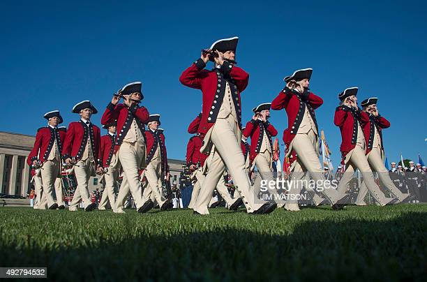 Soldiers with the US Army 3rd Infantry Regiment Fife and Drum Corps march during a full military honors parade in honor of President of South Korea...