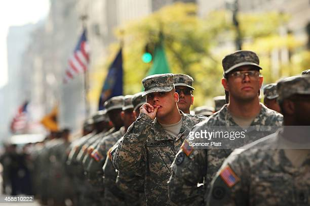 Soldiers with the US Army march in the annual Veteran's Day Parade along Fifth Avenue on November 11 2014 in New York City Often called the largest...