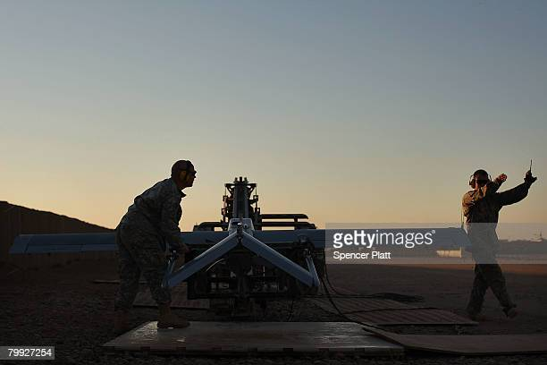 Soldiers With US Army Delta Troop Task Force 21 Cavalry Prepare To Launch A Shadow Unmanned