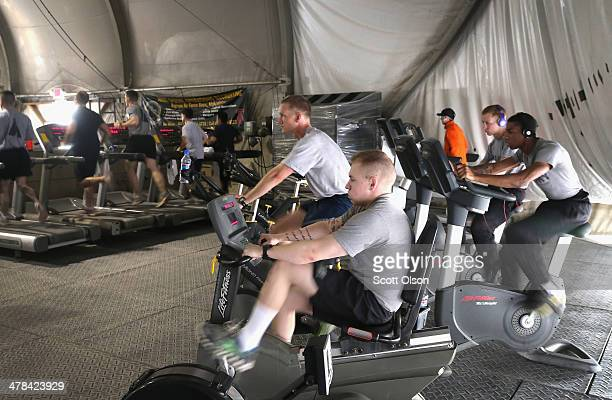 Soldiers workout at one of the gyms on Bagram Airfield on March 13, 2014 near Bagram, Afghanistan. Located about 35 miles from Kabul, Bagram Airfield...