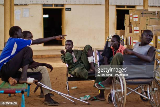 Soldiers wounded in recent fighting along the border with Sudan in Bunj clinic which cares for people from Doro refugee camp in BunjMaban in the...