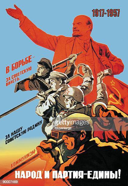 Soldiers,workers,miners all move forward at the behest of a large Red Lenin