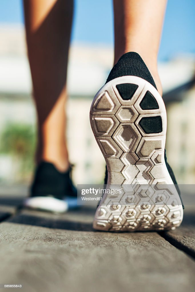 Sole of sports shoe, close-up : Stock Photo