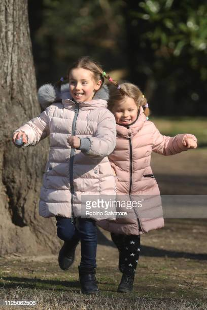 Sole Trussardi and Celeste Trussardi are seen in the park with their mother Michelle Hunziker on February 15 2019 in Milan Italy