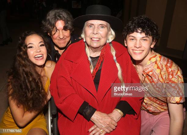 """Solea Pfeiffer, Cameron Crowe, Joni Mitchell and Casey Likes pose at the opening night of the new musical """"Almost Famous"""" at The Old Globe Theatre on..."""
