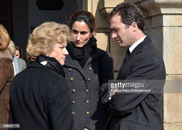 Soledad Becerril and Patricia Medina attend funeral for Marquis of Cogolludo and House of Medinaceli's heir Luis Medina Fernandez De Cordoba at San...