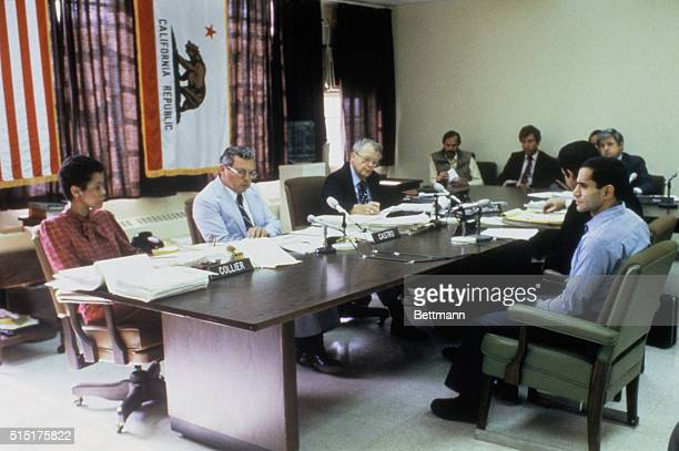Sirhan Sirhan convicted killer of Senator Robert Kennedy pleads his case before the parole board 6/15 Last year the board rescinded a Sept 1 1984...