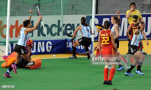 Soledad Garcia of Argentina celebrates the opening goal against China during the first round of the Women's Hockey Champions Trophy in Sydney on July...
