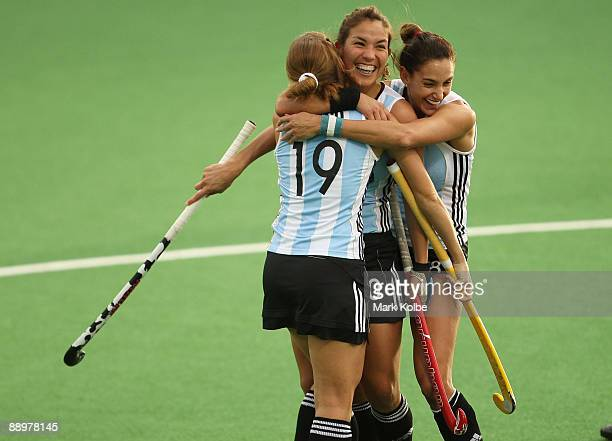 Soledad Garcia of Argentina celebrates with her team mates after scoring Argentina's first goal during the Women's Hockey Champions Trophy match...