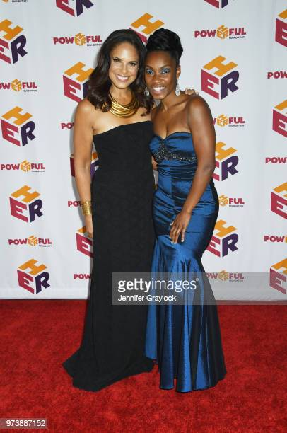 Soledad O'Brien and Alechia Reese attend the PowHERful Benefit Gala on June 13 2018 at Tribeca Rooftop in New York City
