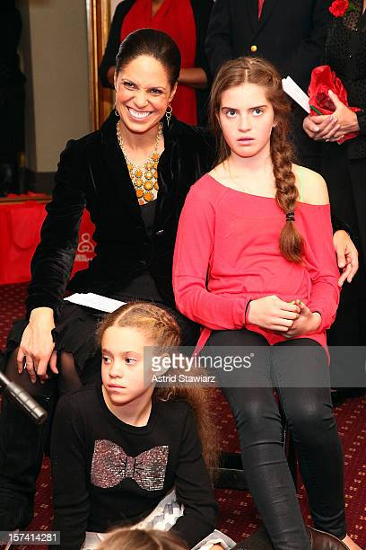 Soledad O'Brien Sofia Raymond and Cecilia Raymond attend the New York Foundling 'Annie The Musical' Matinee at Palace Theatre on December 2 2012 in...