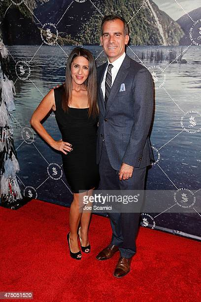 Soleil Moon Frye and Mayor Eric Garcetti attend the Seedling Launch Party at Seedling Headquarters on May 28 2015 in Los Angeles California