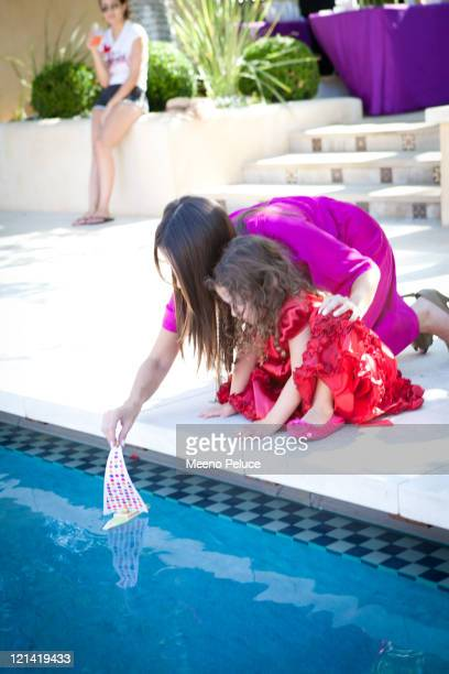 Soleil Moon Frye sails a boat made by her daughter Jagger at Soleil Moon Frye's 'Happy Chaos' Book Launch Party Sponsored by Target on August 18 2011...